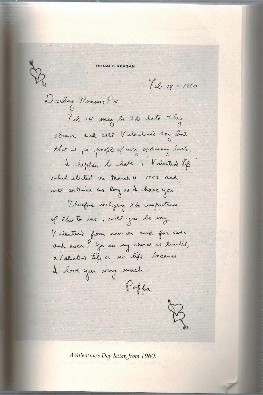 page from the book I Love You, Ronnie . A letter from Ronald Reagan ...